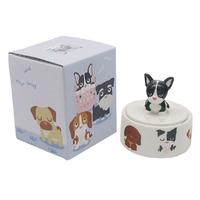 Round Trinket Jewellery Box French Bulldog Puppy Dog Home Decor Black