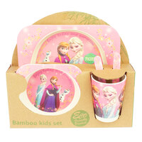 Baby & Me Bamboo Feed Set Eco Friendly Baby Kids Dinnerware Disney Frozen Pink