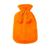 Safe Home Care Hot Water Bottle Cover Relaxing Warmer Heat Soft Bag Orange